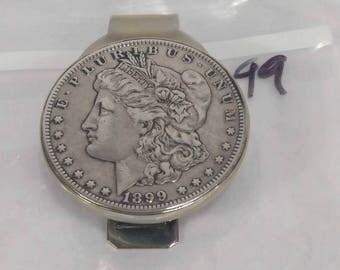 1899 Morgan Silver Coin Dollar Clip- Actual Pic- Free shipping 90% Silver