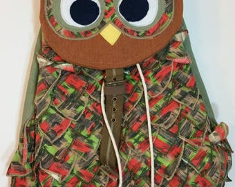 Up cycled owl backpack