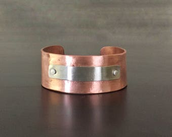 Hammered Copper Cuff Bracelet with Riveted Nickel Silver Accent