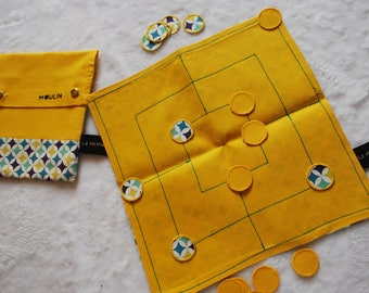 Mill or hopscotch / fabric (4 games in 1) portable strategy game