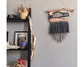Woven wall hanging / Handmade custom tapestry / Pink gray medium