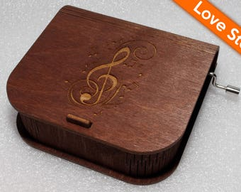 "Engraved Wooden Music Box  ""Love Story"" #3 - Hand Crank Movement"