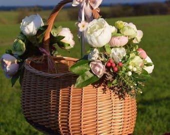 "Picnic basket ""pink peonies"", wedding decor, exclusie gift, home decor"