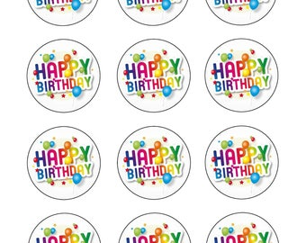 Cupcake Toppers/ Happy Birthday Cupcake Toppers/ Edible Cupcake Toppers/ Edible Prints/ Happy Birthday Edible Cupcake Toppers/ Icing Sheet