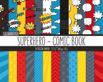 Superhero Digital Paper Pack. Action Words and Comic Sounds Patterns. Comic Book Backgrounds. Speech Bubbles - Super hero Digital Scrapbook