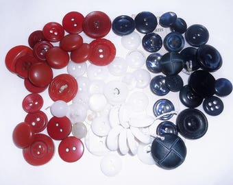 70 vintage Red White & Blue Buttons