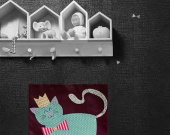 Child/baby room painting, wall decor, cat
