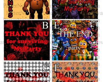 Thank you fnaf card - FNAF Cards - 6 different design - Five Nights at Freddy's - Thank You for Surviving My Party - Instant Download