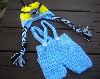 Hand Crochet Despicable Me Minion Baby Photo Prop Set with Hat & Short Pants  Newborn to 24 Months Custom Orders
