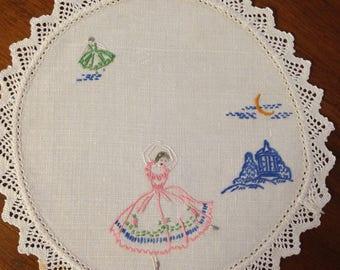 Vintage hand embroidered round doily, 19 cm, ballerina
