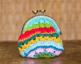 Rainbow coin purse and flower buttons