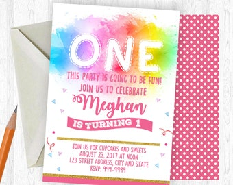 First Birthday Invitation, First Invitation, First Invite, birthday invite, Birthday Party,  Printable Invitation, First, Watercolor