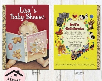 Little Golden Books Baby Shower Invitation, Baby Shower Invite, Little Golden Book, Storybook Invitation with Baby on Cover, Front and Back