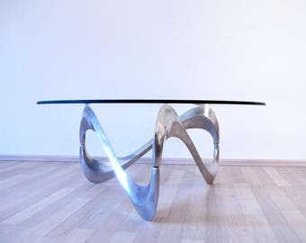 Vintage Coffee table Snake by Knut Hesterberg , Ronald Schmitt, Germany 1960s, Aluminum table, Glass top table, Design table, Modernist