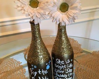 Set of Distressed Champagne Decor Bottles