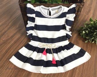 Summer baby dress, Striped baby dress, toddler dress, baby girl dress, birthday baby dress, wedding baby dress, baby gift baby dress pattern