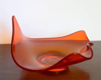 Vintage Orange Viking Glass Candy Dish