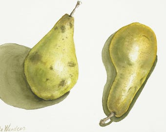 "Pears, Original Watercolor Painting, Wall Decor, Food Print, Size: 24 x 32cm (9,4"" x 12,6"")"