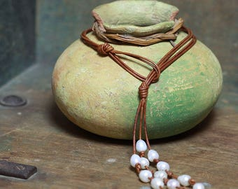 Cascading Pearls and Knotted Leather Necklace