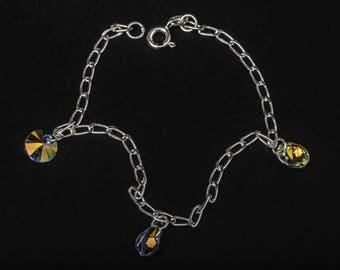 aurora borealis swarovski crystals and 925 sterling silver bracelet