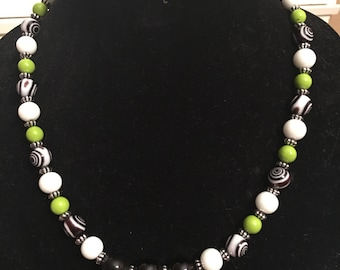 Lime green, black and white beaded necklace