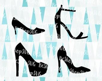 Black Shoe SVG, Shoes bundle SVG, High heel SVG, Fashion Svg, Stiletto Svg, Ankle strap Sandals Svg, Instant download, Eps - Dxf - Png - Svg