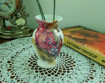 Miniature vase, Vintage vase, Vintage miniature, Small vase, Pottery vase, Porcelain vase, Tiny vase, Vintage pottery, Hand painted vase.