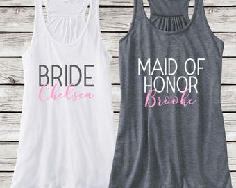 Bridesmaids Personalized Tanks, Bachelorette Party Bride and Bridal Party