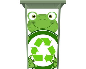 Cute Recycling Frog Wheelie Bin Sticker Panel