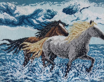 Wild horses, Horses Are Running Art Cross-stitch, Cross stitched wall hanging, Embroidery, Image, Wall art, Wall decor, Gift, Wedding gift
