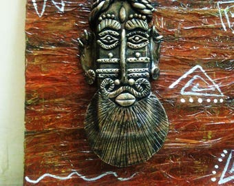 Tribal Face Art/ Indian Tribal Face/ Wall Hanging/ Wall Decor/Wall Art