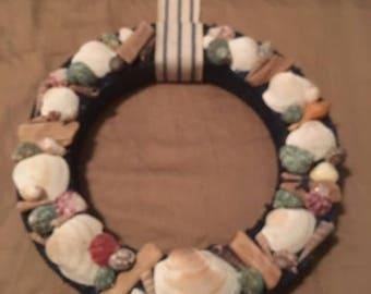 Sea shell and driftwood wreath