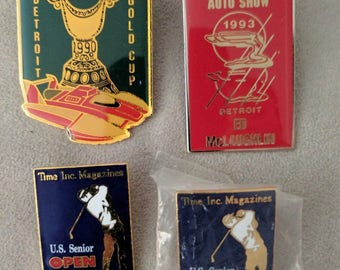 Rare Vintage Detroit Themed Pins