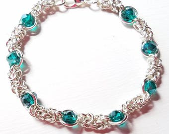 Teal Crystal and Silver Byzantine Chainmaille Bracelet