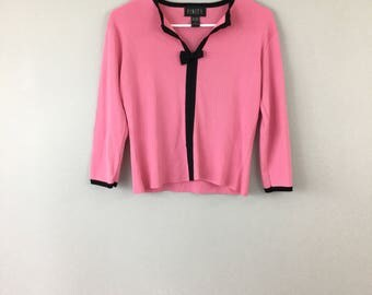 Vtg Pink & Black Bow Quarter Sleeve Top