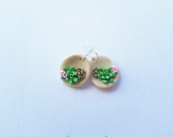 Lovely succulent, polymer clay earring and  sterling silver shepherds hook