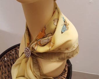 Ladies Glamour Crystal adorned scarf & scarf clip-gift boxed-Butterfly Gold