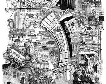 Illustration of Hackney Wick between 2010-2017 As the artists and ravers, jews and surveyors, african churches, fashion models and circus