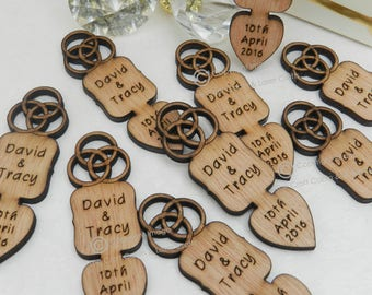 Personalised Celtic Knot Wooden Love Spoons, Favours, Vintage Wedding Decorations