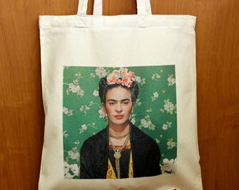 Frida Kahlo Bag, Frida Kahlo Tote Bag, Frida Kahlo Fan Gift, Frida Kahlo Market Shopping Cotton Bag, Frida Kahlo Printed 100% Cotton Bag
