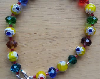 Yellow Millefiori Glass Beads and Multi-coloured Crystal Bracelet with Silver Fittings