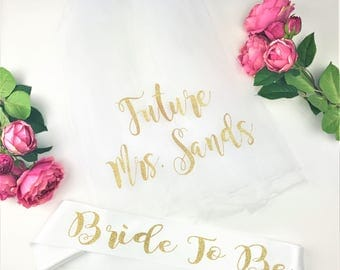 Glitter Bride To Be Sash and Veil, Bride to Be Veil,  Future Mrs Veil, Bachelorette Party Veil, Personalized Veil, BRIDE TO BE Style M