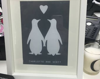 Personalised Penguin Love Print ideal for Wedding / Engagement / Valentine / Anniversary Present
