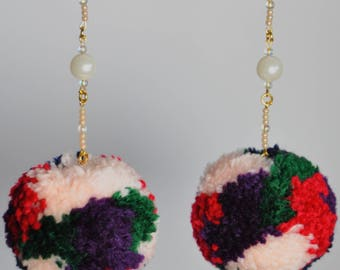 Peach Pearl Pom Pom earrings