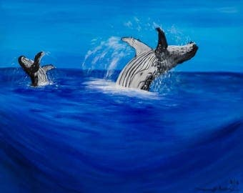 Jump for Joy is a high quality print of my acrylic canvas painting of humpback whales breaching
