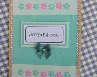 """Pretty """"Wonderful Sister"""" Birthday Card"""