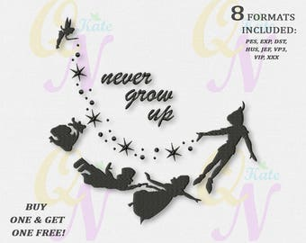 BOGO FREE! Never Grow Up Machine Embroidery Design, Peter Pan Machine Embroidery Design, Embroidery designs for babies, 4 sizes, #040