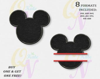 BOGO FREE! SET, Head of Mickey Mouse Applique Embroidery Designs, Mickey Split Machine Embroidery Designs, embroidery designs baby, #069