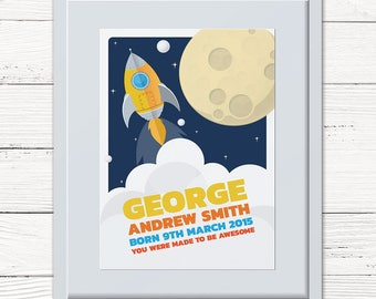 Blast Off! Baby Boy Personalised Framed Print from Jester & Jewel