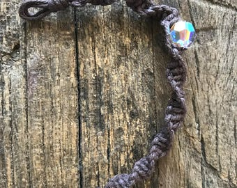 Child-size, Spiral Knot hemp bracelet with Swarovski Crystal
